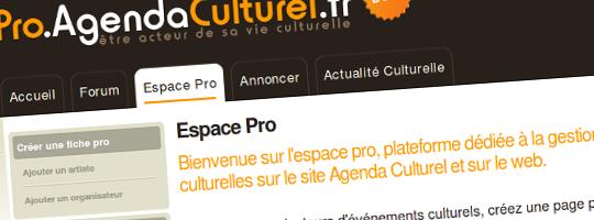 Espace Pro d'Agenda Culturel