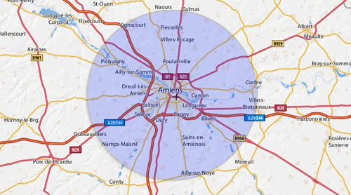 Rayon Autour D Une Ville Sur Une Carte
